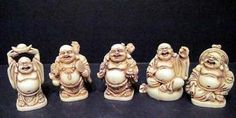5 Happy Laughing Resin Mini Buddha Sculptures