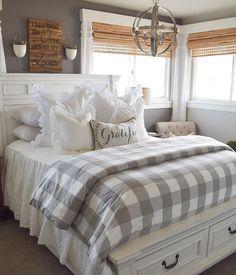 Farmhouse Bedroom Decor, Cozy Bedroom, Modern Bedroom, Farmhouse Master Bedroom, Master Bedroom Makeover, Farmhouse Style Bedding, Country Bedding, Country Cottage Bedroom, Guest Bedroom Decor