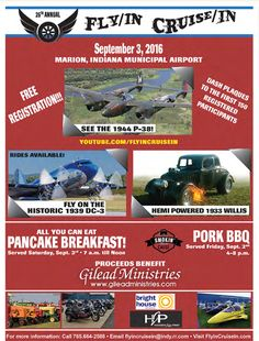 Fly/In Cruise/In Marion Indiana Sept. 3, 2016.  Labor Day Weekend Marion Indiana | Marion Indiana | Grant County Indiana | Marion Indiana Airport