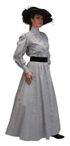1800s Ladies Gray,Black,White Cotton Stripe Dress Skirt | 19th Century | Historical | Period Clothing | Theatrical || Pinstripe Walking Skirt - Black/White