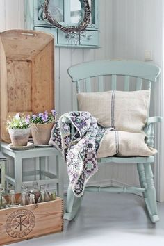 beautiful, soft blue, wood, and hire color scheme
