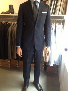 Bespoke Camps de Luca suit MTM Luxire shirt Drakes bespoke tie Carmina shoes
