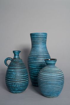 Anonymous; Glazed Ceramic 'Gaulois' Vases by Les Potiers d'Accolay, 1960s.