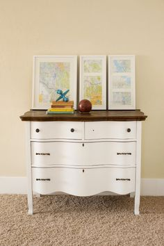 love this vintage dresser re-do but want something long enough to hold a changing pad and a small basket/turn table of supplies.