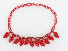 Bright Red Celluloid Collar Necklace with Red Plastic Grape Clusters | eBay
