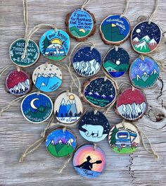 Hand Painted Rustic Wood Slice Ornaments All Occasion Art,How To Produce Wood Art ? Wood art is generally the job of surrounding about and inside, provided the top of anything is flat. The absolute most lovel. Wood Slice Crafts, Wood Crafts, Painted Rocks, Hand Painted, Painted Wood, Rustic Wood, Diy Wood, Wood Wood, Rustic Decor