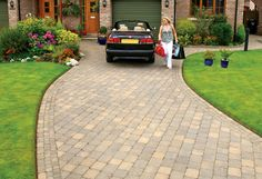 Design your perfect driveway by getting inspiration from our image gallery using Tobermore block paving, permeable pavers, kerbs and kerb setts Paving Flags, Block Paving, Driveway Design, Landscape Materials, Paving Stones, Pathways, Driveways, Sidewalk, Patio