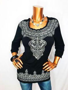 INC S Top Embellished Tunic Stretch Shirt Sequin Paisley Elastic Hip Black Shirt  | eBay