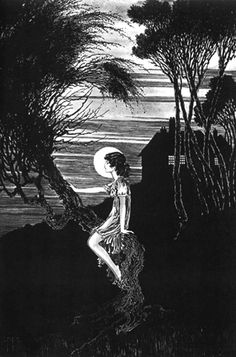 "Art by Ida Rentoul Outhwaite (1937) ""Moonrise."" from the book, THE LOST PRINCESS."
