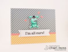 I'm All Ears: Made with Mama Elephant Honey Bunny stamp set and Lawn Fawn Let's Polka paper collection. @Mama Elephant @Lawn Fawn