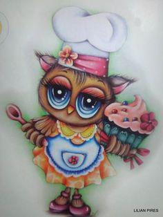 Owl Cartoon, Cartoon Pics, Funny Drawings, Easy Drawings, Owl Wallpaper, Owl Templates, Owl Patterns, Bird Cards, Cute Little Things