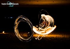 Light painting with fire dancers