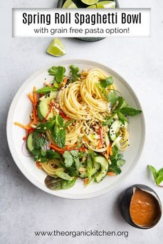 Just as healthy as it is beautiful, this Spring Roll Spaghetti Bowl with grain free pasta option is loaded with veggies, greens and fresh herbs and for a then drizzled with an amazing sweet and spicy dressing with hints of ginger and sriracha! Lunch Recipes, Pasta Recipes, Real Food Recipes, Dinner Recipes, Noodle Recipes, Salad Recipes, Dinner Ideas, Vegetarian Dinners, Vegetarian Recipes