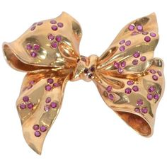 View this item and discover similar for sale at - Beautifully made Retro Bow Brooch with trios of Burmese rubies. The brooch measures Ribbon Jewelry, I Love Jewelry, High Jewelry, Jewelry Gifts, Jewelry Design, Antique Jewelry, Vintage Jewelry, Ribbon Bows, Ribbons