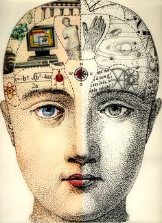Left & Right Hemispheres of the Brain such things as this was used often during the century when phrenology was popular Art And Illustration, Phrenology Head, Photocollage, Art Graphique, Art Plastique, Altered Art, Collage Art, Collage Sheet, Artsy