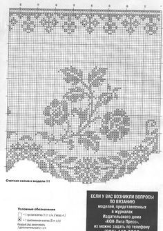 Diana Bistro Gardinen D 1302 - Zosia - Picasa Web Albums Filet crochet floral, dainty, lacy kitchen curtain chart / graph No. Filet Crochet Charts, Crochet Borders, Crochet Cross, Crochet Art, Knitting Charts, Crochet Home, Crochet Motif, Crochet Doilies, Crochet Stitches