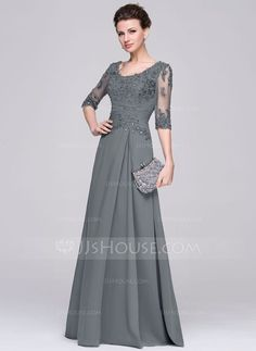 A-Line/Princess Scoop Neck Floor-Length Chiffon Tulle Mother of the Bride Dress With Ruffle Beading Appliques Lace Sequins (008058408) - JJsHouse