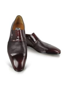 Lugano - Burgundy Leather Loafer - A smooth cap toe paired with texturized leather across the upper creates a unique loafer with distinct Italian style. Elastic bands at the side of the tongue ensure a perfect fit. Signature box included. Made in Italy.