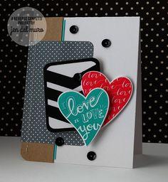 Card by Jen del Muro. Reverse Confetti stamp set: Heart to Heart. Confetti Cuts: Heart to Heart, Documented and Pretty Panels Big Chevron. Anniversary card. Valentine's card.