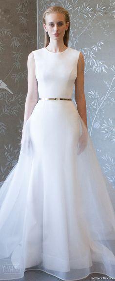romona keveza spring 2018 bridal sleeveless jewel neck sheath trumpet wedding dress sheer overskirt belt (rk8400) zv clean elegant modern sweep train -- Romona Keveza Collection Spring 2018 Wedding Dresses