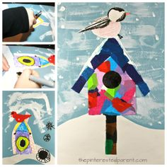 Mixed media art birdhouse with chickadee or a cardinal - Use tissue paper, acrylics, watercolors, crayons, markers or construction paper to build this pretty winter / Christmas scene. Kid's and preschooler's arts and crafts Winter Art Kindergarten, Kindergarten Art Lessons, Art Lessons Elementary, Art Drawings For Kids, Art For Kids, Winter Christmas Scenes, January Art, Classroom Art Projects, Winter Art Projects