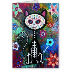 El Gato Cat Dia de los Muertos by Prisarts Greeting Card