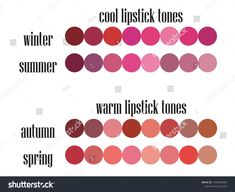 Stock vector seasonal color analysis lipstick colors palette for all types of fe. - Stock vector seasonal color analysis lipstick colors palette for all types of female appearance - Lipstick Palette, Lipstick Swatches, Lipstick Skin Tone, Winter Lipstick, Fall Lipstick Colors, Deep Autumn Color Palette, Winter Typ, Cool Skin Tone, Seasonal Color Analysis