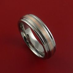 Rose Gold and Titanium Ring Custom Made Band by StonebrookJewelry