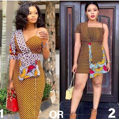 For the love of classic prints! 1 or Pick your preferred dress! Same fabric, two beautiful styles! Chic 1 - in… Best African Dresses, African Fashion Ankara, Latest African Fashion Dresses, African Print Dresses, African Print Fashion, African Attire, African Wear, African Prints, Ankara Dress Styles