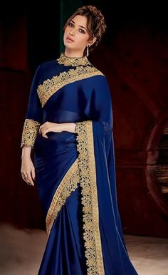 Searching for the best quality Elegant Design Indian Saree and items like Latest Elegant Designer Sari and Latest Elegant Sari Blouse if so then Press Visit link above for more options Fancy Sarees, Party Wear Sarees, Bollywood Saree, Bollywood Fashion, Indian Dresses, Indian Outfits, Royal Blue Saree, Saree Jackets, Satin Saree