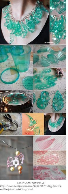 Recycled Arts and Crafts Fashion - Jewelry from Recycled Plastic Bottles DIY - Upcy . - Recycled arts and crafts fashion – jewelry made from recycled plastic bottles diy – upcycling b - Reuse Plastic Bottles, Plastic Bottle Crafts, Plastic Jewelry, Recycled Bottles, Plastic Cups, Bottle Jewelry, Plastic Art, Bottle Necklace, Collar Necklace