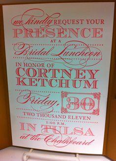Bridal Luncheon Invite... Beautiful.