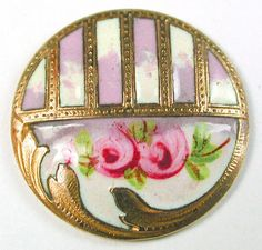Antique French Enamel Button w/ Hand Painted Roses