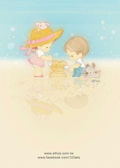 插畫家Ato Recover:夏天。 在沙灘上堆砌的夢想, 帶不走的,就放心裡。來源http://www.facebook.com/123ato