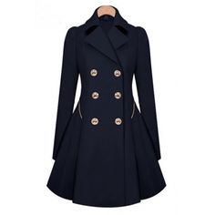 Fashion Turndown Collar Long Sleeves Double-breasted Inky Indigo Long Trench Coat