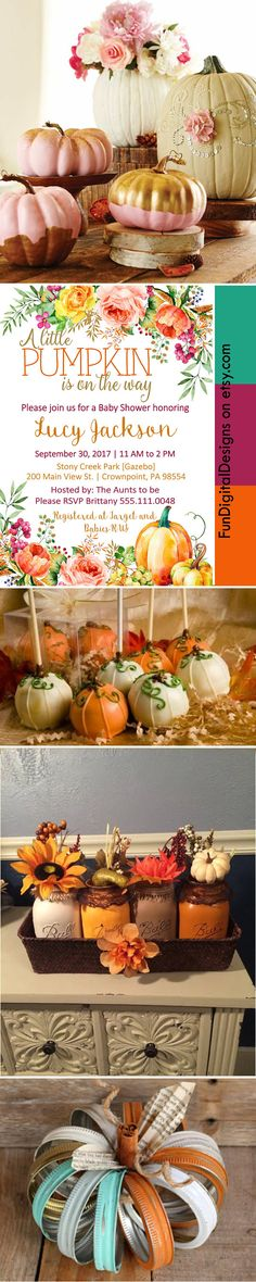 Love this for a Little Pumpkin Fall Baby shower or sprinkle! The roses and pumpkins together add a touch of class and romance to any Baby Shower! Great for Shabby Chic and fall florals