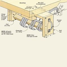 Five Shop Organizers | Woodsmith Tips - pullout rack for c-clamps hidden under workbench.
