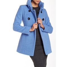 Cinzia Rocca Double Breasted Short Wool Blend Coat ($470) ❤ liked on Polyvore featuring outerwear, coats, lt blue, wool blend coat, short coat, cinzia rocca, long sleeve coat and cinzia rocca coat