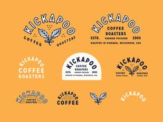 Kickapoo designed by Whitney Anderson. Connect with them on Dribbble; Coffee Shop Logo, Coffee Branding, Logo Branding, Brand Identity Design, Branding Design, Branding Ideas, Menu Design, Design Ideas, Brand Packaging