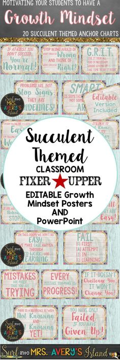 If creating a GROWTH MINDSET is your mission as you head back to school this year, click this link to discover a set of succulent themed posters perfect for your classroom bulletin boards!  These motivational quotes are a perfect way for teachers to start off their students' school day and create a growth mindset attitude for them to use as they face challenges in their lives!