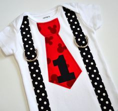 Mickey Mouse Birthday Inspired Tie and Suspenders Applique Onesie or T-Shirt for Baby Boys - Mickey Birthday Shirt - 1st Birthday on Etsy, $19.99