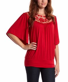 This Simply Irresistible Red Crochet Blouson Top - Women by Simply Irresistible is perfect! #zulilyfinds