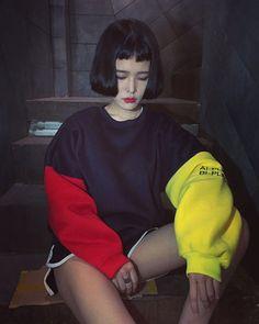 2016 レディース 長袖 トップス 個性的 POP 原宿系 ファッション トレーナー 韓国 個性 派手 カワ 青文字系 zipper kera 配色トレーナー