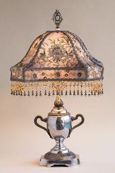 Silver Victorian Lampshade with Beads por nightshades en Etsy