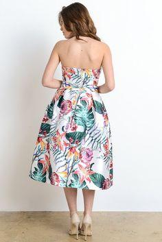Hawaiian Print Dress Set $54.00 | Rabecca Onassis Boutique Hawaiian Print, Online Clothing Boutiques, Dress Set, Woman Style, Boutique Clothing, Strapless Dress, Womens Fashion, Clothes, Strapless Gown