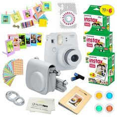 Fujifilm Instax Mini 9 (Flamingo Pink) Deluxe kit bundle Includes -Instant camera with Instax mini 9 instant films pack) - Custom Camera Case - instax Album – Frames - wall hang frames- - Stickers - Close up lens + MORE … Fujifilm Instax Mini, Instax Mini 9, Fuji Instax, Fujifilm Polaroid, Polaroid Instant Camera, Instant Film Camera, Fuji Camera, Camera Case, Camera Lens