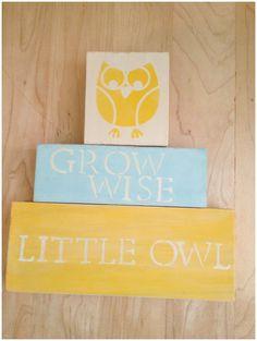 Yellow owl nursery blocks <3 on etsy