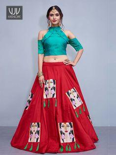 Get Vogue Red Color Silk Trendy Designer Lehenga Choli latest designer party wear lehenga, wedding wear lehenga choli for women at VJV Fashions. Simple Lehenga Choli, Lehenga Choli Latest, Indian Lehenga, Silk Lehenga, Garba Chaniya Choli, Banarsi Saree, Heavy Lehenga, Heavy Dupatta, Lehenga Skirt