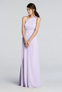 Stay on trend with this chic asymmetrical floor length bridesmaid dress.  Crinkle chiffon dress features a one shoulder asymmetric neckline with keyhole detail.  Features a side slit for added movement.  Fully lined. Zipper Back. Imported polyester. Dry clean only.  Also available in Extra Length sizes as Style 4XLF18055. To protect your dress, try our Non Woven Garment Bag.