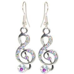 1/2 X 1 1/2 Treble Clef Earrings with Rhinestones In Aurora Borealis with Silver Finish - GashungKa | GashungKa